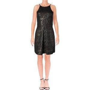 NWT Aqua Floral Metallic Dress